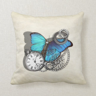 Steam Punk Teal Blue Butterfly Pocket Watch Chains Throw Pillow
