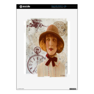 Steam Punk Victorian Camper Woman Gears Clock Decal For iPad 2