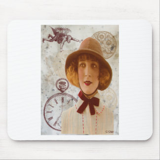 Steam Punk Victorian Camper Woman Gears Clock Mouse Pad