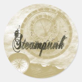 Steam punk vintage fashion art classic round sticker