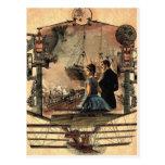 Steam punk, vintage style art postcard