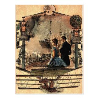 Steam punk vintage style art postcard