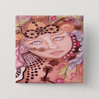 Steam punk woman themed watercolor art button