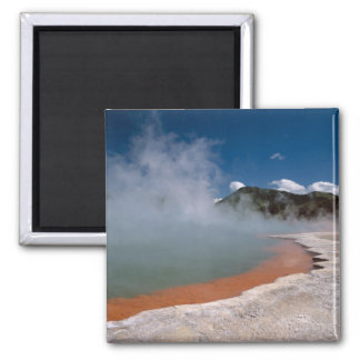 Steam rising from Champagne Pool at WAI-O-TAPU 2 Inch Square Magnet