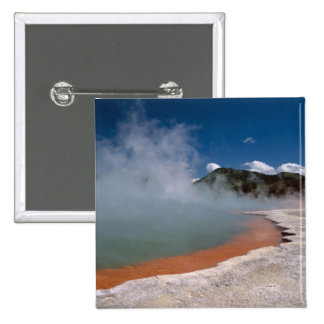 Steam rising from Champagne Pool at WAI-O-TAPU Pinback Button