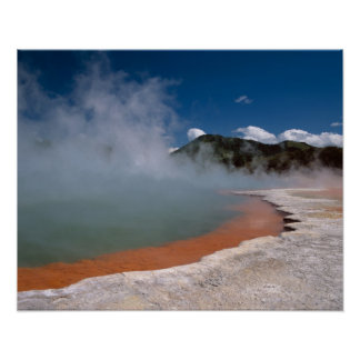 Steam rising from Champagne Pool at WAI-O-TAPU Poster