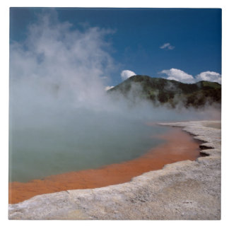 Steam rising from Champagne Pool at WAI-O-TAPU Large Square Tile
