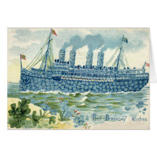 Steam Ship Forget Me Not Clover Card