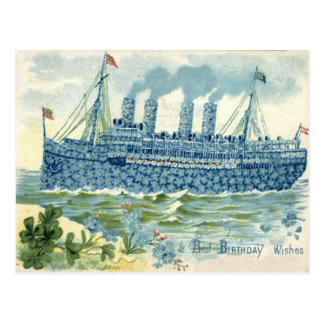 Steam Ship Forget Me Not Clover Postcard