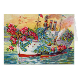 Steam Ship Rose Forget Me Not Ocean Card