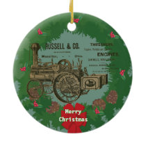 Steam Traction Engine 1889 Russell and Company Ceramic Ornament