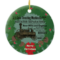 Steam Traction Engine 1889 Steam Engine Threshing Ceramic Ornament