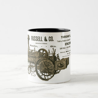 Steam Traction Engine Farm Tractor Farming Antique Two-Tone Coffee Mug