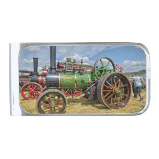 Steam Traction Engine Silver Finish Money Clip
