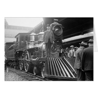 Steam Train at Station, 1923 Card