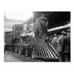 Steam Train at Station, 1923 Postcard