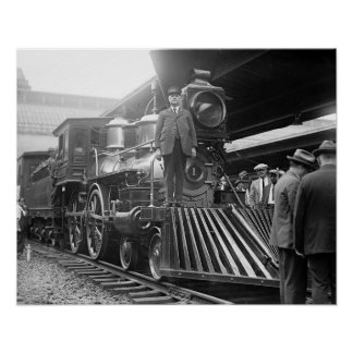 Steam Train at Station, 1923. Vintage Photo Poster
