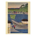Steam train at Takanawa,Tokyo by Utagawa,Yoshitora Postcard