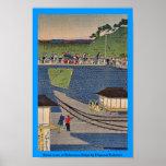 Steam train at Takanawa,Tokyo by Utagawa,Yoshitora Posters