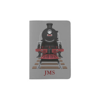 Steam Train Engine on Tracks Monogram Custom Color Passport Holder
