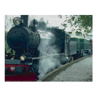 Steam train excursion postcard