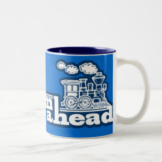 Steam train full steam ahead blue logo mug