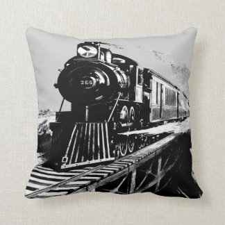 steam train grey_black vintage cushion