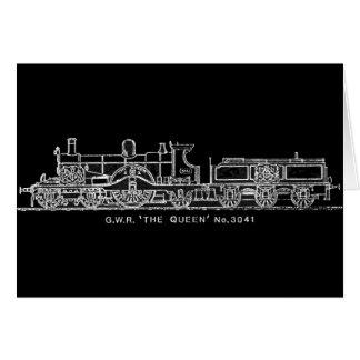 Steam Train, GWR, The Queen, 3041, B & W Greeting Card