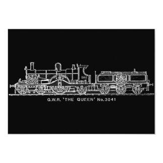 Steam Train, GWR, The Queen, 3041, B & W Card