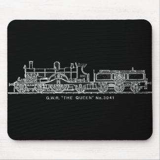 Steam Train, GWR, The Queen, 3041, B & W Mouse Pad