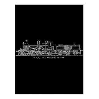 Steam Train, GWR, The Queen, 3041, B & W Postcard