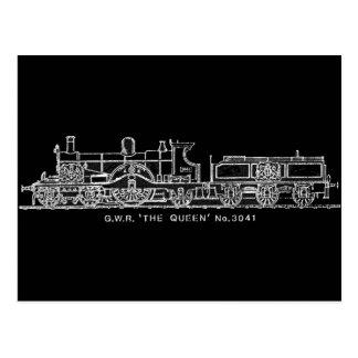 Steam Train, GWR, The Queen, 3041, B & W Post Card