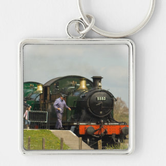 Steam Train key ring Silver-Colored Square Keychain