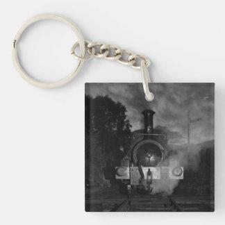 Steam Train Keychain/Keyring Single-Sided Square Acrylic Keychain