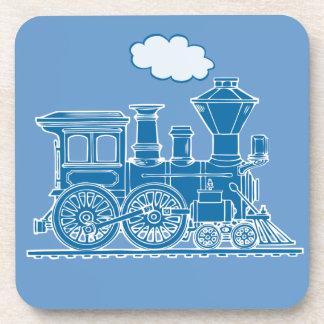 Steam Train loco blue graphic art coaster 6 set