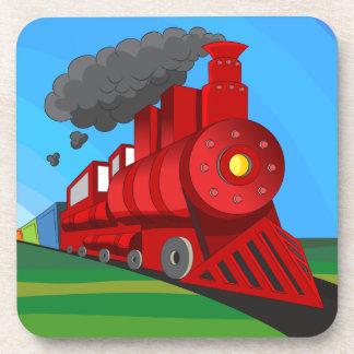 Steam Train Locomotive Cartoon Beverage Coaster