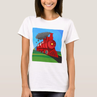 Steam Train Locomotive Cartoon T-Shirt