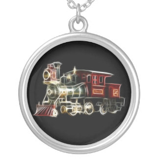 Steam Train Locomotive Engine Silver Plated Necklace