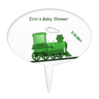 Steam Train Locomotive Green Cake Topper