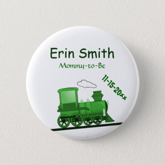 Steam Train Locomotive Green Pinback Button