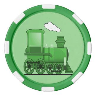Steam Train Locomotive Green Poker Chip Set