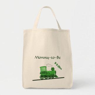 Steam Train Locomotive Green Tote Bag
