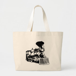 steam train locomotive large tote bag