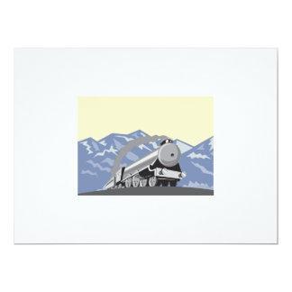 Steam Train Locomotive Mountains Retro 6.5x8.75 Paper Invitation Card