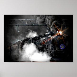 Steam Train Locomotive Poster