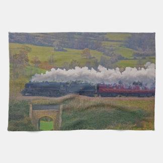 Steam Train Locomotive Railway Enthusiast Art Hand Towel