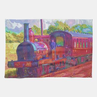 Steam Train Locomotive Railway Enthusiast Art Kitchen Towels