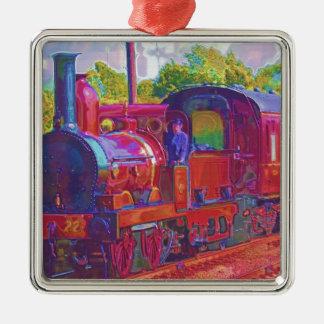Steam Train Locomotive Railway Enthusiast Art Square Metal Christmas Ornament