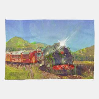 Steam Train Locomotive Railway Enthusiast Art Towel