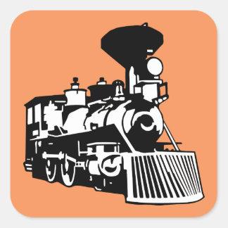 steam train locomotive square sticker